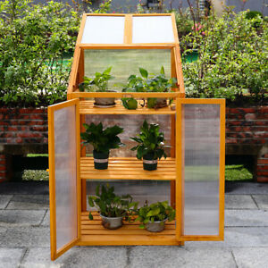 Mini Greenhouse Wooden Grow House Planter Polycarbonate Cover Cold Frame Shelter