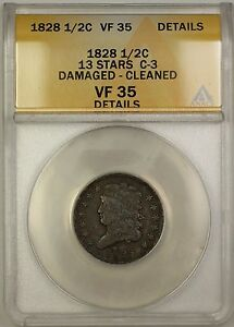 1828 13 Stars Classic Head 1/2c Coin C-3 ANACS VF-35 Details Damaged Cleaned