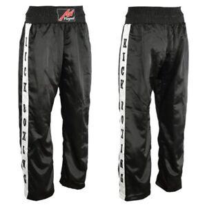 Full Contact Kick Boxing Satin Trousers Black/White Pants Bottoms Training