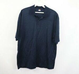 Paul & Shark Yachting Mens Medium Striped Short Sleeve Golf Polo Shirt Blue