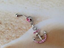 NAUTICAL PINK RHINESTONE ANCHOR CHARM  NAVEL BELLY BARBELL RING BEACH JEWELLERY