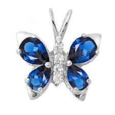 Blue Sapphhire & Cz Butterfly .925 Sterling Silver Pendant