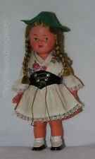 "Vintage 1950's Scotland or Swiss Costume Souvenir Girl Plastic Doll 6.75"" Tall"