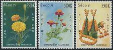 LAOS N°1559/1561**  Fleurs, oeillet d'Inde, 2004  Flowers Sc#1630-1632 MNH