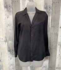 Equipment Femme Black Silk Notch Collar Long Sleeve Button Down Blouse Size XS