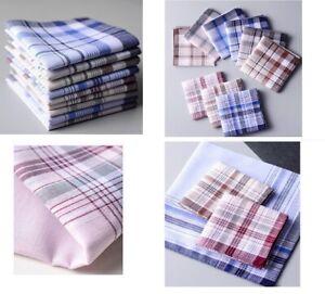 6PC Men Mens HANDKERCHIEFS 100%Pure Cotton Pocket Square Hanky Handkerchief Bulk