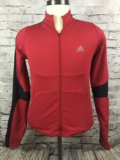 Women's Adidas Climalite Red / Black Three Strip Zip-Up Jacket Sz S #p