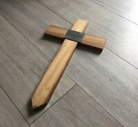 "Wooden Memorial Cross Grave Marker 28"" Free Plaque & Free Engraving cemetry urn"