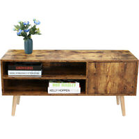 Modern TV Stand Console Table Cabinet Accent End w/ Doors & Storage Shelves