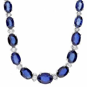 29.10Ct Natural Sapphire & Diamond 14K Solid White Gold Necklace