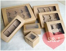 50 Kraft Cupcake Muffin Box Brown Paper Wedding Party Favours 1 2 3 4 6 8 Holder