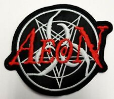 AEON RED AND WHITE LOGO EMBROIDERED PATCH