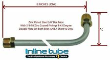 """3/8"""" Fuel Line 8 Inch OE Zinc Steel 90 Degree Bend Flared 5/8-18 Tube Nuts SAE"""