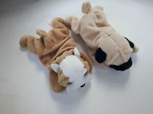 Ty Beanie Babies Wrinkles & Pugsly *No Hang Tags*