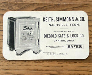Vintage Diebold Safe & Lock Co Advertising Trade Card Keith Simmons Nashville TN