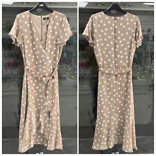 Wallis Beige Taupe Polka Dot Wrap Print Midi Dress Size 10 - 18