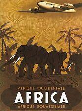 Equatorial Africa Kenya by Airplane Vintage Travel Art Poster Advertisement