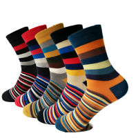 5 Pairs Mens Cotton Socks Colorful Stripe Fashion Casual Sox For Wedding Gifts
