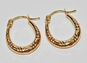 9CT GOLD OVAL CREOLE HOOP EARRINGS - SOLID 9CT GOLD - NEW