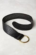 New Anthropologie Woven Leather Corset Belt Sz M Size Medium NIP Black