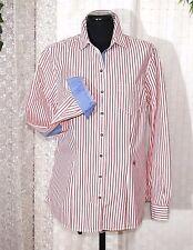 BRAX Feel Good Damen  Bluse 42 rot weiß blau Ellenbogen Patches Langarm Stick