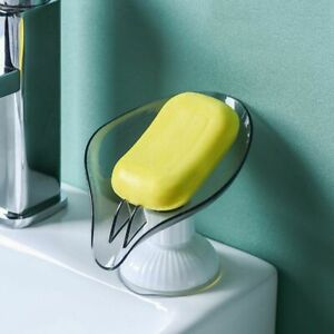 Punchfree Soap Dish Leaf Shaped Soap Drain Box Soap Holder Suction Cup Rotatable