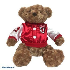 "Dan Dee 17"" Brown Bear Varsity LOVE U Red White Satin Jacket Valentine #17"