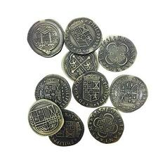 ADVENTURE COINS – PIRATE DOUBLOON METAL COINS VARIETY PACK SET OF 10 HISTORICAL