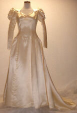 Vintage 1940s 50s Priscilla of Boston Victorian Antique Satin Bride Wed Dress