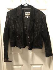 Women's Vintage Pioneer Wear Western Jacket 10 Black Leather Fringe Southwest