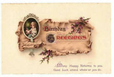 Birthday Greetings Many Happy Returns Rare Vintage Postcard Posted 22.07.24