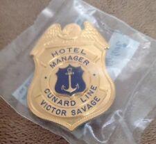 Rare Hotel Manager Cunard Line Pin Badge Victor Savage Blackinton