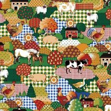 100% Cotton Fabric BTY Calico Farm Cows, Chickens Pigs