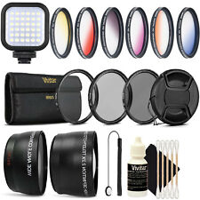 58MM Lens Filter Accessory Kit + LED Light for CANON Rebel 6i T6 T6s T5i T4i
