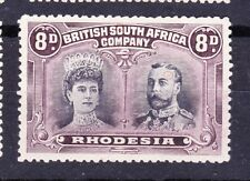 Rhodesia 1910-14 8d SG185 WITH VARIETIES AS HIGHLIGHTED SCRATCH NE OF EYE MLH-VF