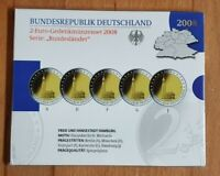 2 Euro Gedenkmünzenset BRD 2008 Hamburger Michel ADFGJ + PP + Blister ADFGJ 5x