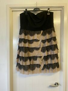 City Chic Plus Size 18 M Black w Beige Petals Formal Dress Strapless Gown #F54