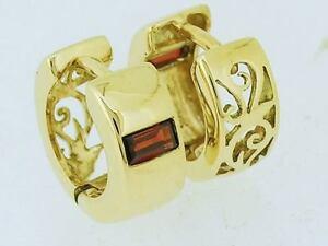 E005 SOLID 9ct Gold NATURAL Garnet Amethyst Topaz HUGGIES Hoop Earrings Filigree