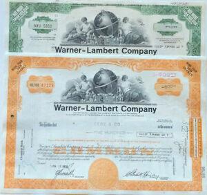 Warner-Lambert (now Pfizer) Listerine Lipitor products stock certificates