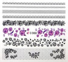 C FIORI e PIZZO ad acqua per unghie FLEURS ONGLES MANICURE nail art water decals