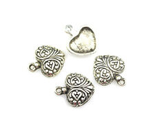 10 Antique Silver Heart Charm Beads 15MM