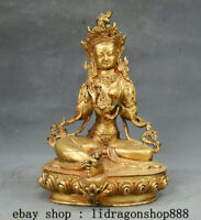 "8.8"" Tibet Mahayana Bouddhisme Cuivre Doré Vert Tara illumination Déesse Statue"