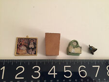 New listing Vintage Mini Lot Tootsie toy bathroom scale, wood planter, bell, picture frame