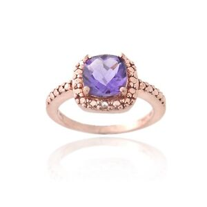 18K Rose Gold over 925 Silver Amethyst & Diamond Accent Ring Size 6