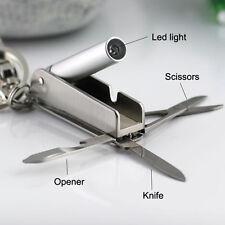 Multi-Function LED Light Scissors Knife Opener Keychain Key Chain Ring Keyring