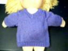 Solid Color V Neck Sweater Handmade for 15 inch Bitty Baby Doll Made in USA