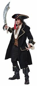 Pirates of the Caribbean Captain Jack Sparrow Deluxe Teen Adult Mens Costume NEW