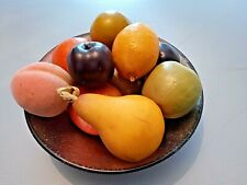 Vintage Art Deco Style Glass Bowl & Artificial Fruit  Set - Shabby Chic Display