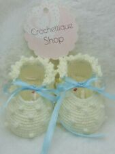 Newborn Crochet  Baby Girl Shoes Soft Salomon Knots Lace Baby Yellow