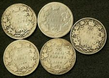 1902H 1904 1907 1910 1913 Canada 25 Cents Lot of 5 Silver 92.5% #6429